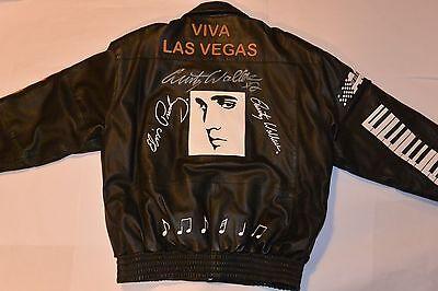 1998  ELVIS PRESLEY/RUSTY WALLACE SIGNED BLACK LEATHER JACKET! VIVA LAS VEGAS M