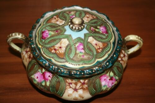 Hand Painted NIPPON Porcelain Bowl With Lid