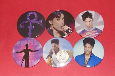 "Prince New Set Of  6 Large  2 1/4"" Buttons Pins"