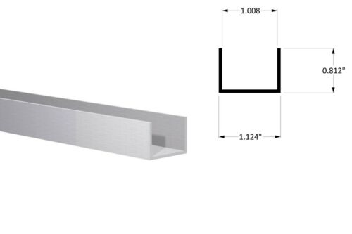 "Aluminum Channel:(1-1/8"" W x 13/16"" H x 1/16"" Wall) Fit 1"" Clear Anodized 3 Foot"
