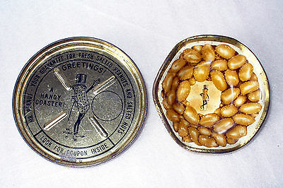 PLANTERS MR PEANUT TIN LITHO DISH CUP NUT BOWL TIN LID COASTER VINTAGE