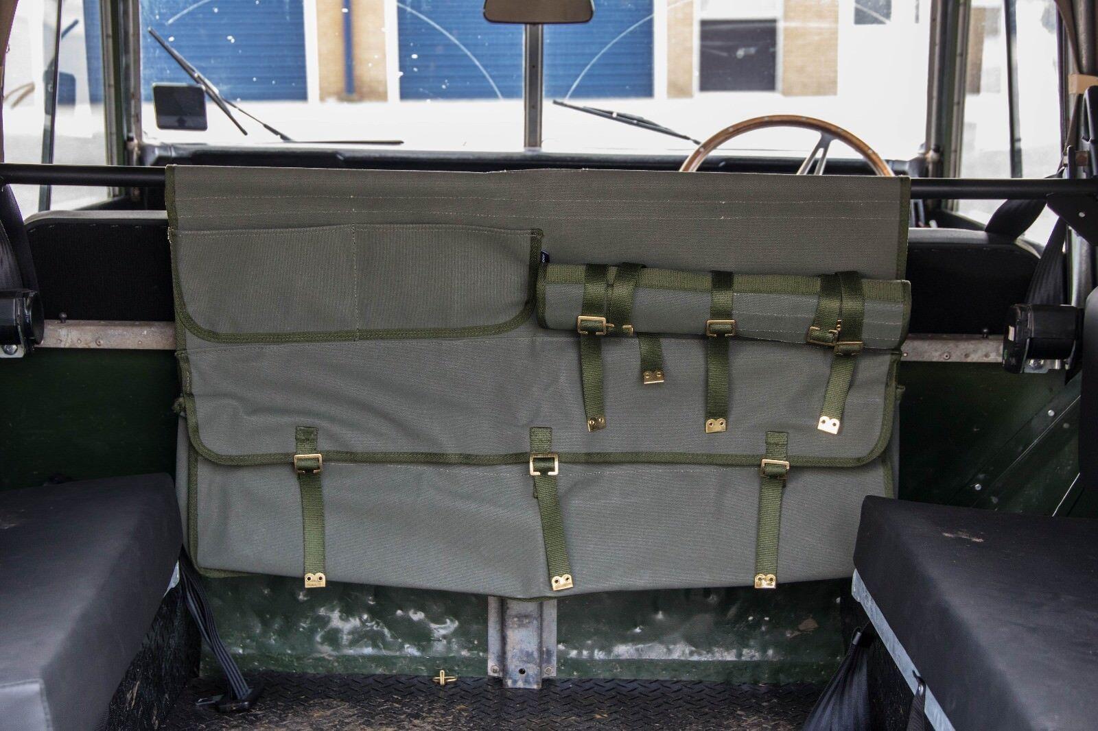Land Rover Defender Series Canvas Bulkhead Storage Bag Khaki Canvas Exmoor Trim