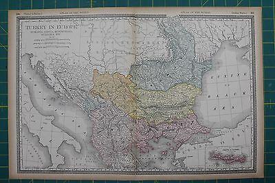 Turkey in Europe Vintage Original 1894 Rand McNally World Atlas Map Lot
