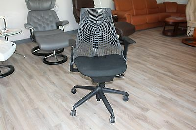 Herman Miller Sayl Chair W Black Y Tower Black Suspension And Black Fabric