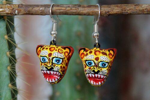 Jaguar Earrings Jungle Cat Handmade Izúcar de Matamoros Puebla Mexican Folk Art