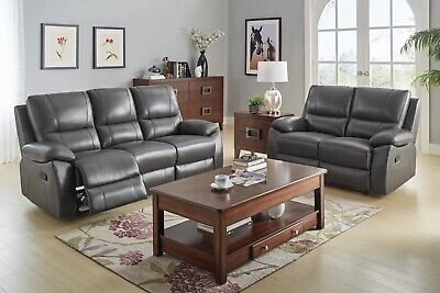100% TOP GRAIN GREY LEATHER MATCH RECLINING SOFA LOVESEAT LIVING ROOM
