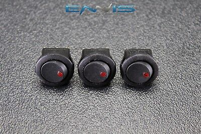 3 Pcs Round On Off Rocker Switch Mini Toggle Red Led 34 Mount Hole Ec-1103ard