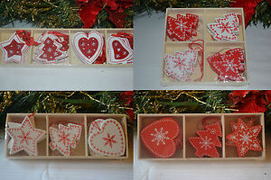 12-wooden-red-white-shabby-chic-christmas-decorations-tree-star-heart-snowflakes