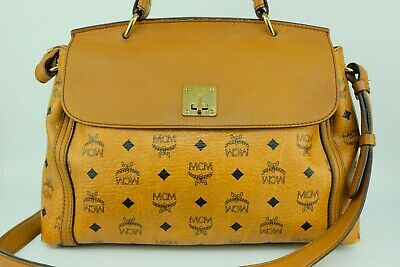 100% Authentic MCM Cognac Visetos Flap 2way Hand & Crossbody Bag