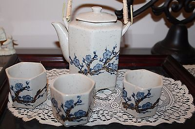 Vintage Ceramic 4 Piece Tea Set Asian Tea Pot and 3 Cups Japanese Chinese