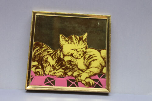 Vintage Sleeping Cats In Brass Plated Framed Mirror - Antique