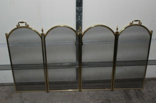"Vintage Folding Fireplace Screen Brass Frame 4 Panels 53.5"" wide X 28.5"" Tall"