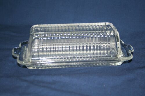 Vintage Ribbed glass butter /cheese dish and top