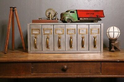Vintage Industrial Filing Cabinet Vertical Drawers Brass Handles Card Catalog