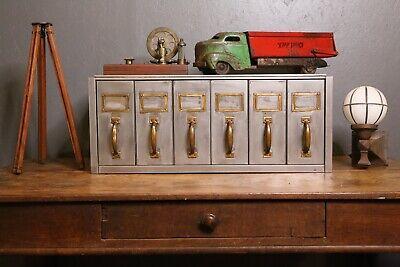 Vintage Industrial Filing Cabinet Vertical Drawers Brass Handles Card Catalog