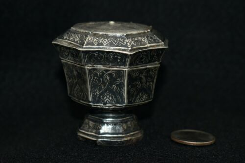 Antique Lidded Niello / Nielloware Silver Box / Container from Thailand