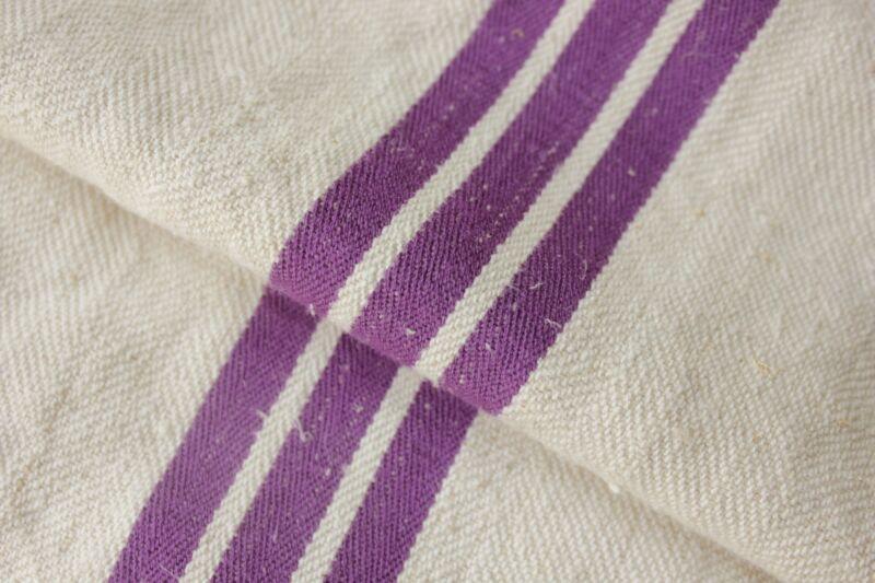 GRAIN SACK grainsack linen bag PURPLE Fustian cotton linen woven bag c 1930