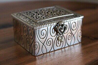Brighton Lacie Daisy Heart Latch Small Silver Jewelry Trinket Box