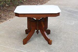 Fancy Walnut Victorian Marble Top Coffee Table Ca 1880