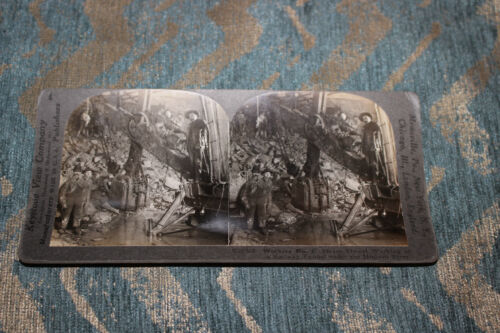 Antique Stereoview Card Workers Digging Railway Tunnel Hudson River NYC New York
