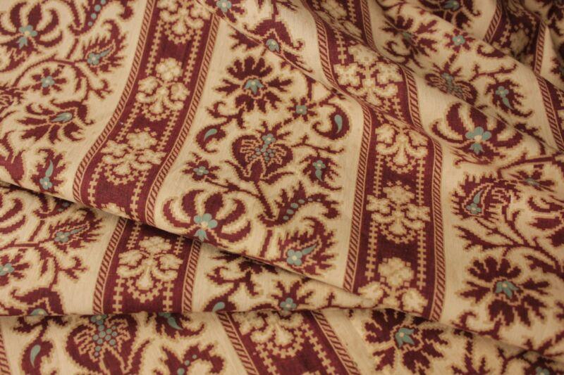 Antique French fabric material c1870 Prussian blue madder brown printed cotton