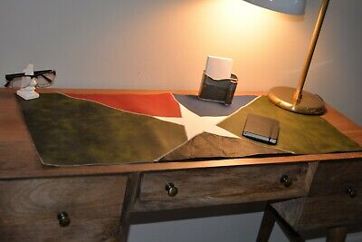 Leather Desk Pad - Unique Lone Star Red Green Large Deskpad - Mouse Pad