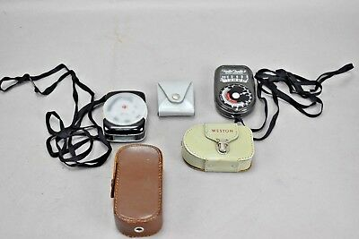 Vintage Light Meters GE and Weston Brands Lot of 4 with cases and manuals