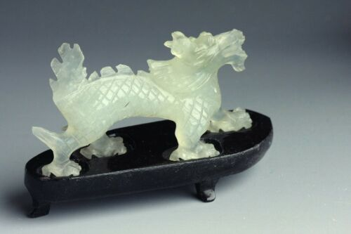 "Vintage handcarved Celadon ""Jade"" Dragon Serpentine ""jade"" Dragon Chinese"