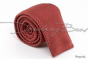 New Mens Solid Knit Knitted Neck Tie Woven Slim Square 2.5