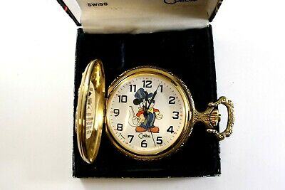ONE MICKEY MOUSE POCKET WATCH W/HUNTING CASE IN ORIGINAL BOX QUARTZ MOVEMENT