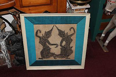 Superb Asian Bali Indonesia Woodblock Print-Women Dancing-Framed-Hinduism-LQQK