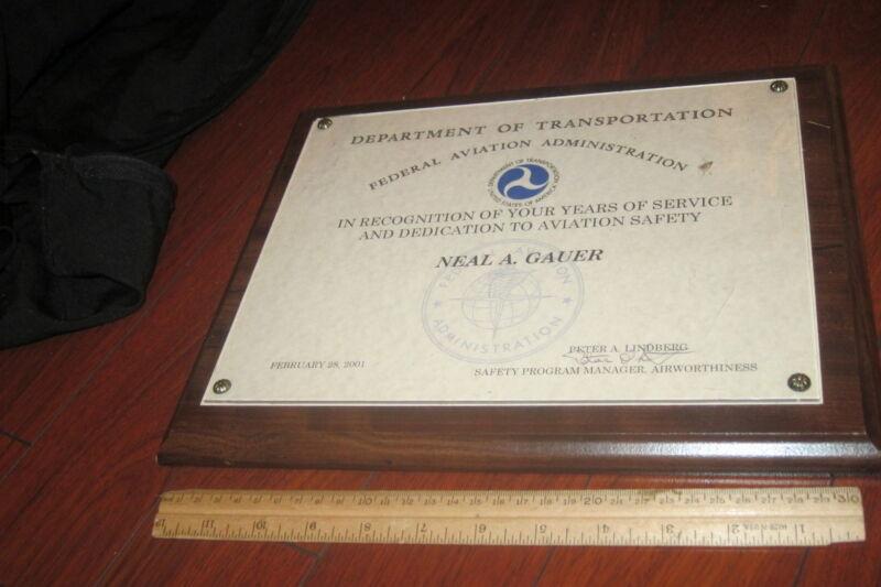 US Dept.Transportation Federal Aviation Administration Certificate PLAQUE SIGNED