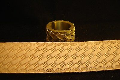 Leather Embossing Machine Roll with Basketweave pattern Brass 1-1/2""