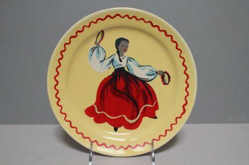 """Bauer Los Angeles Vintage Painted 9 1/2"""" Plate Mexican Dancing Girl Senorita"""