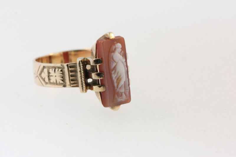 ANTIQUE VICTORIAN HAND CARVED SHELL CAMEO RING 10K ROSE GOLD RING  Sz 3