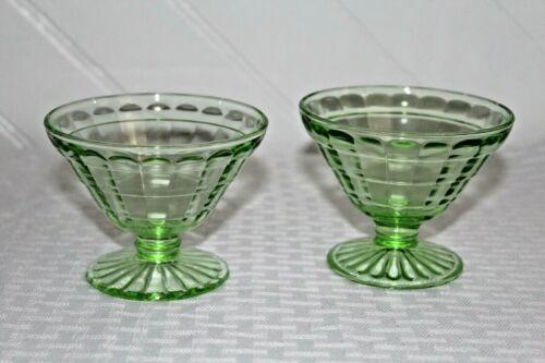 Vintage Jeanette Cube/Cubist Green Vaseline Glass Footed Sherbets- Set of 2