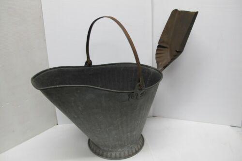 Antique Primative Galvanized Metal #18 Coal Ash Scuttle Bucket w/ Shovel Scoop