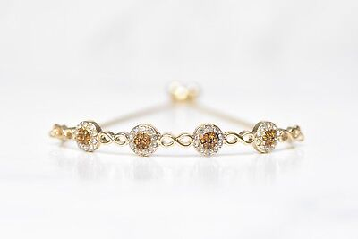 10K YELLOW GOLD ROUND BROWN Crystal BOLO BRACELET 3/4 CTTW