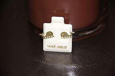 14K Gold  Whale Earrings Stud Post Gold Earring Vintage from the 1990's Nautical 14k Gold Post Nautical Earrings