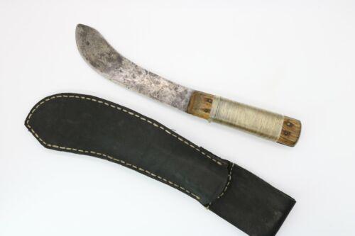 VINTAGE FIXED BLADE SKINNING BUTCHER KNIFE - LEATHER SHEATH