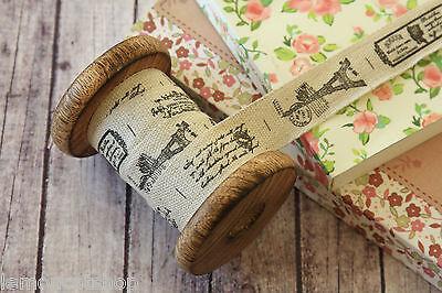 La Tour EIFFEL PARIS Ribbon zakka woven Cotton Blended sewing tape fabric trim