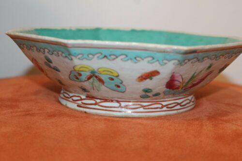 Antique Chinese Famille Rose Octagonal Footed Bowl