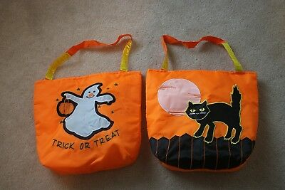 2 Halloween trick or treat reusable tote bag with reflective strip