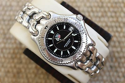 Tag Heuer Watch Mens SEL Stainless SS WG1118 Black Mint Dial $1750 Link S/EL