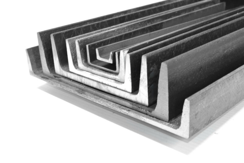 """4 Pieces - 1 x 1/2 x 1/8""""x 48"""" A36 Mild Steel C channel. Ships UPS"""