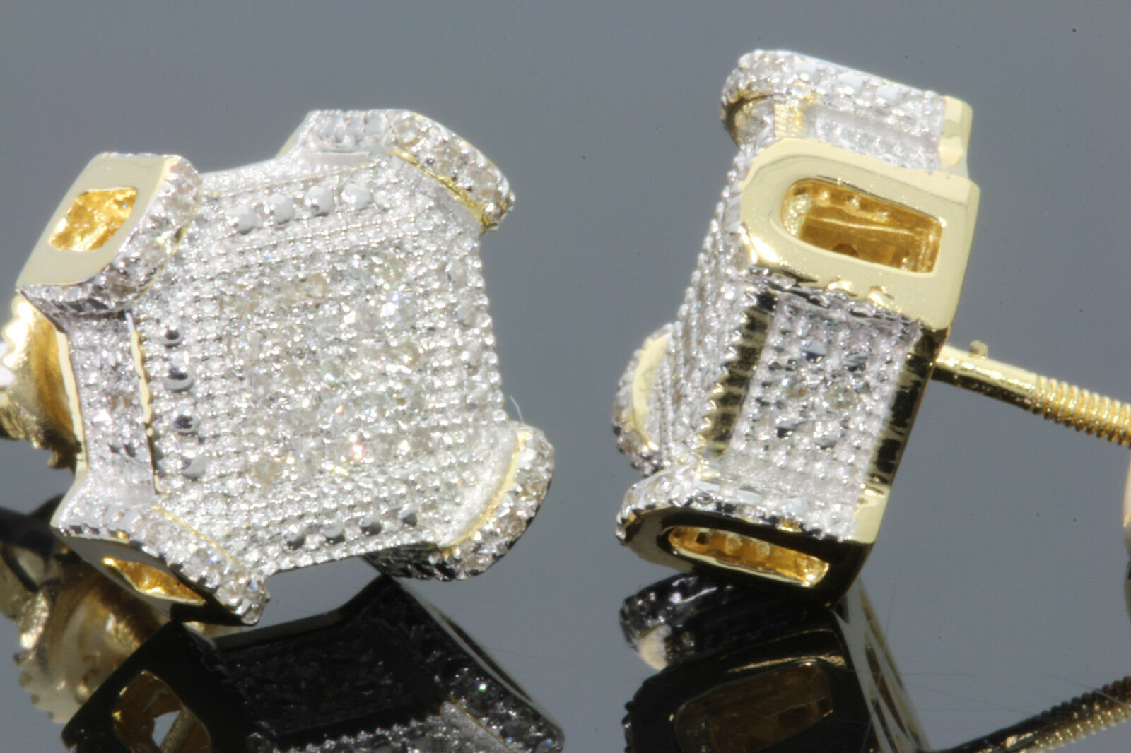 .29 CT STERLING SILVER GOLD FINISH MEN WOMEN 10 mm REAL DIAMONDS EARRINGS STUDS