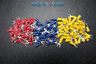 75 Pk 10-12 14-16 18-22 Gauge Vinyl Spade Connector 25 Pcs Ea 10 Terminal Fork