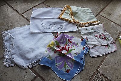 5 ladies vintage handkerchief lot hankie floral embroidered lace hanky