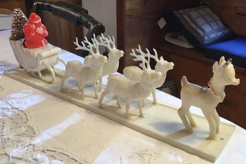 "Vintage Plastic Santa &Reindeer Rudolf Bottle Brush Tree Sleigh 15"" W/ ?Light ?"