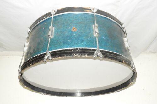 "Vintage Ludwig 28"" Bass Drum Blue Sparkle Wrap Mahogany Shell"